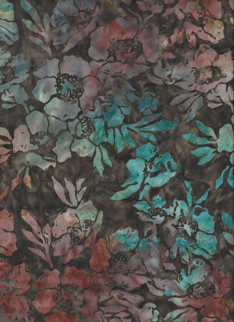 patchwork stoff batik braun t rkise blumen 110 cm angelika reinhart handarbeiten. Black Bedroom Furniture Sets. Home Design Ideas
